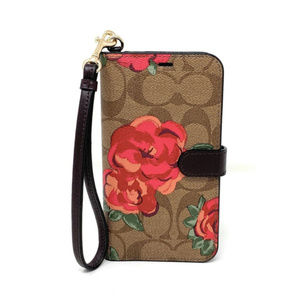 Coach Signature Neon Flower iPhone X+ Folio NWT